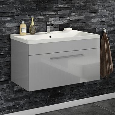 Vellamo Aspire 800mm Wall Mounted 1 Drawer Vanity Unit & Basin - Gloss Grey