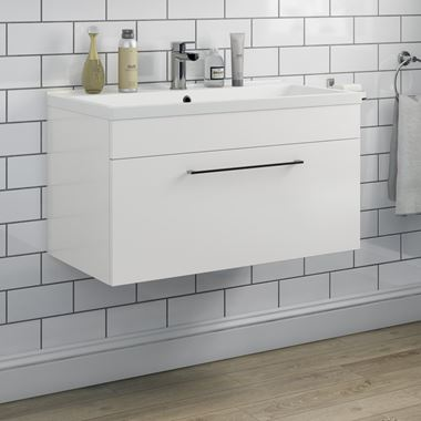 Vellamo Aspire 800mm Wall Mounted 1 Drawer Vanity Unit & Basin - Gloss White