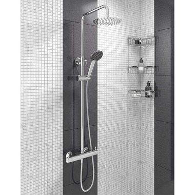 Vellamo Blade Exposed Dual Outlet Rigid Riser Thermostatic Shower Set