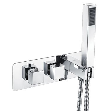 Vellamo Blox 2 Outlet Concealed Thermostatic Bath Shower Valve & Handset