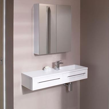 Vellamo City 995mm Wall Hung Basin Vanity Unit - White Gloss