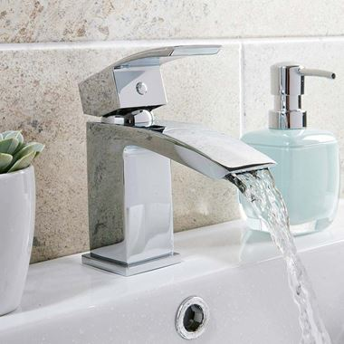 Vellamo City Waterfall Small Basin Mixer Tap with Waste