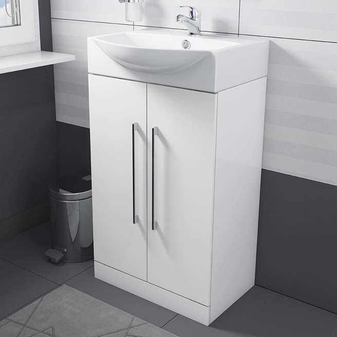 Vellamo Aspire Compact Floorstanding 2 Door White Vanity Unit & Basin - 500mm