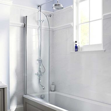Vellamo Curved Corner Single Hinged Bath Screen