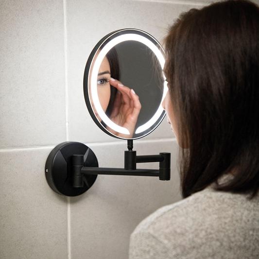 Vellamo Led Illuminated Matt Black, Magnifying Wall Mirrors For Bathroom