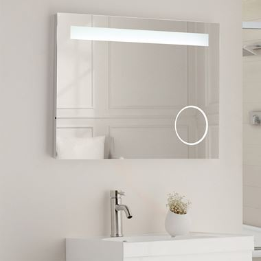 Vellamo LED Illuminated Magnifying Mirror with Demister Pad & Shaver Socket - 800 x 600mm
