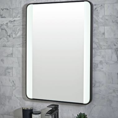 Vellamo LED Illuminated Matt Black Mirror with Demister Pad & Colour Change LEDs - 500 x 700mm & 1200 x 600mm
