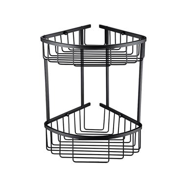 Vellamo Matt Black Double Corner Shower Basket