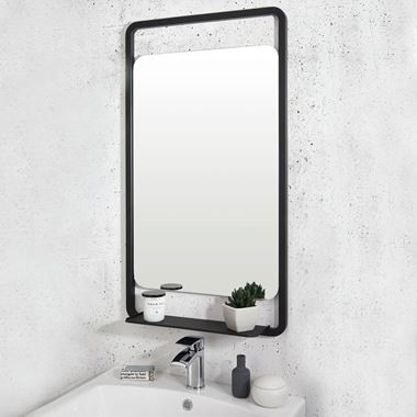Vellamo Matt Black Mirror & Shelf - 900 x 500mm