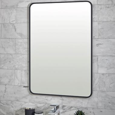 Vellamo Matt Black Rectangular Mirror - 700 x 500mm