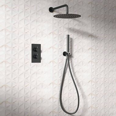 Vellamo Twist Matt Black Shower Package with 2 Outlet Valve, Fixed Head & Arm and Wall Shower Kit