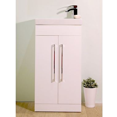 Vellamo Mirage 2 Door 460mm Floorstanding Vanity Unit & Ceramic Basin - White
