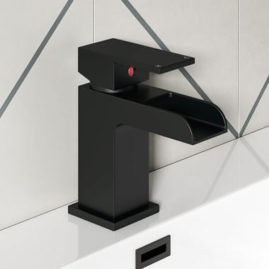 Vellamo Reve Matt Black Basin Mixer Tap & Clicker Waste