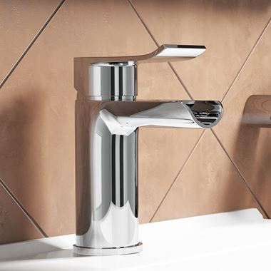 Vellamo River Waterfall Basin Mixer Tap with Clicker Waste