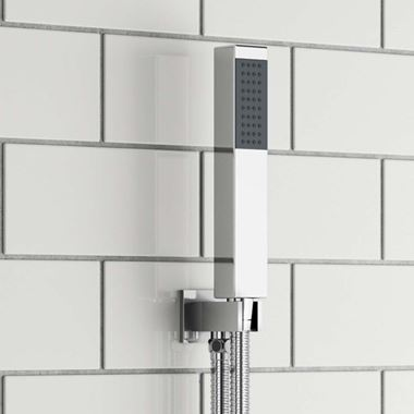 Vellamo Square Shower Handset, Wall Bracket & Hose