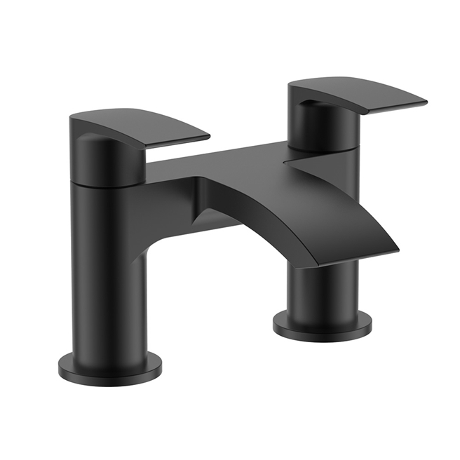 Vellamo Swift Matt Black Deck Mounted Bath Filler