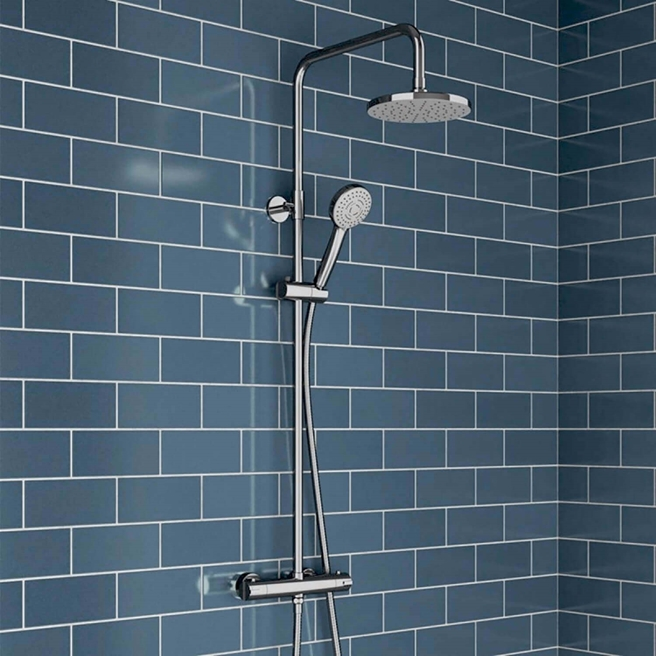 Vellamo Twist Exposed Dual Outlet Rigid Riser Thermostatic Shower Set