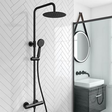 Vellamo Twist Matt Black Shower Package with Bar Valve & Adjustable Riser Rail