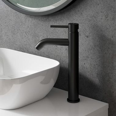 Vellamo Twist Matt Black Tall Basin Mixer Tap