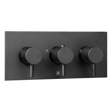 VOS 3 Outlet Horizontal Concealed Thermostatic Shower Valve with Designer Handles - Matt Black