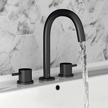 VOS 3 Hole Deck Mounted Basin Mixer - Matt Black