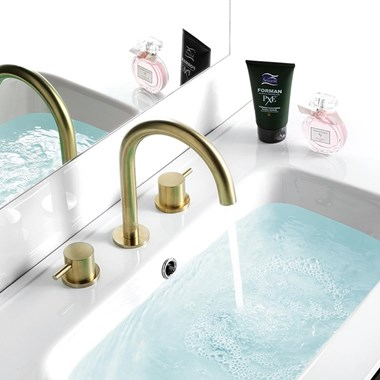 VOS 3 Hole Deck Mounted Basin Mixer - Brushed Brass