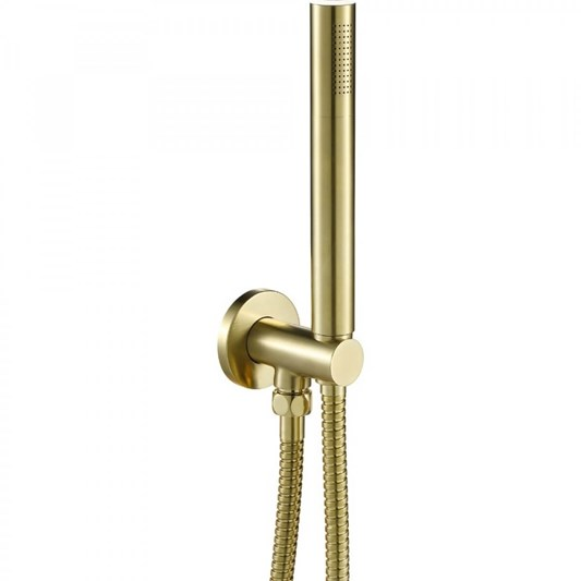 VOS Round Water Outlet & Holder with Metal Hose & Slim Hand Shower - Brushed Brass