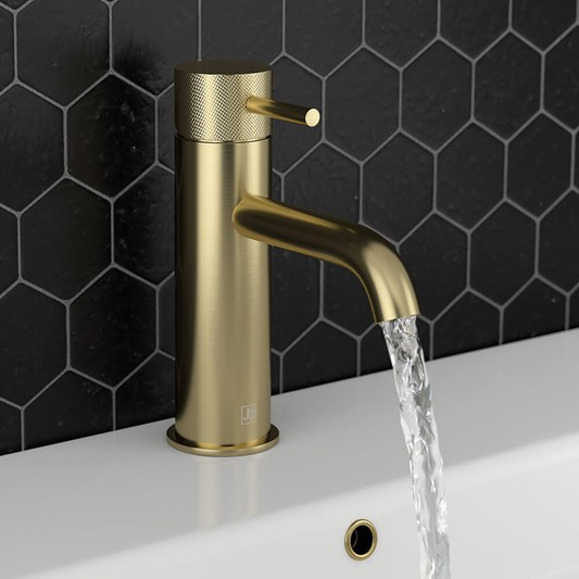 VOS Single Lever Basin Mixer with Designer Handle - Brushed Brass