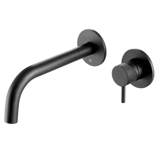 VOS Single Lever Wall Mounted Basin Mixer with Designer Handle - Matt Black