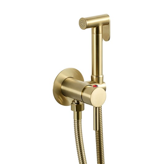 VOS Douche Handset with Hose & Wall Bracket - Brushed Brass