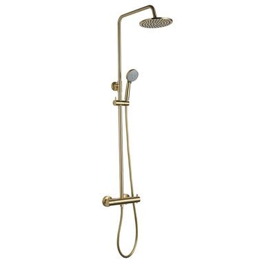 VOS Exposed Dual Outlet Rigid Riser Thermostatic Shower Set - Brushed Brass