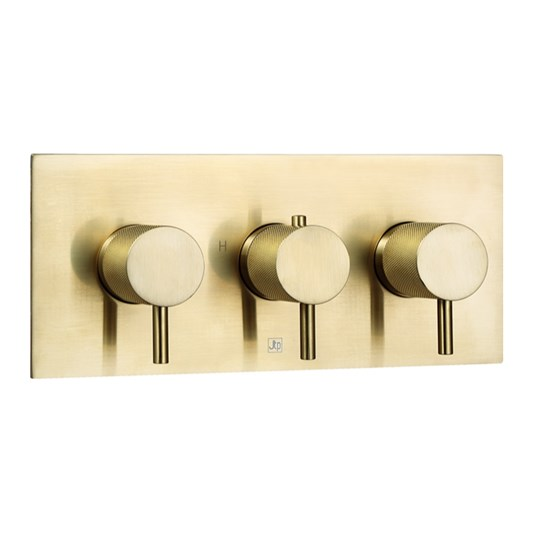VOS 3 Outlet Horizontal Concealed Thermostatic Shower Valve with Designer Handles - Brushed Brass