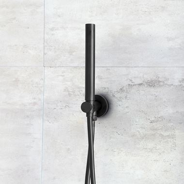 VOS Round Water Outlet & Holder with Hose & Slim Hand Shower - Matt Black