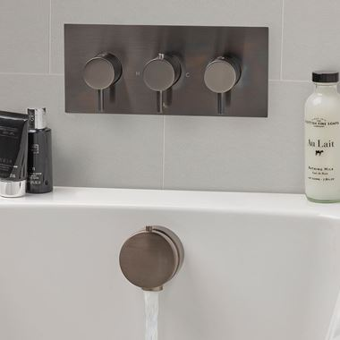 VOS Overflow Bath Filler with Pop Up Waste - Brushed Black