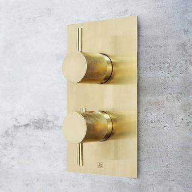 VOS 2 Outlet Concealed Thermostatic Bath & Shower Valve with Designer Handles - Brushed Brass