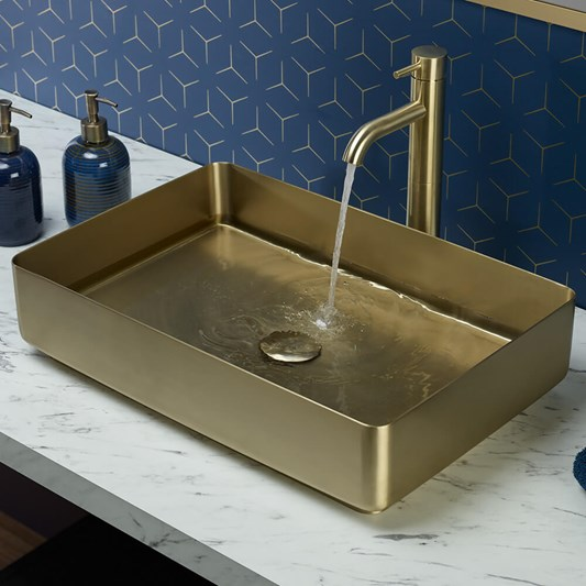 VOS Rectangular Stainless Steel Countertop Basin - Brushed Brass Finish