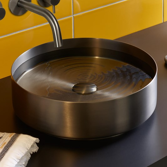 VOS Round Stainless Steel Countertop Basin - Brushed Black