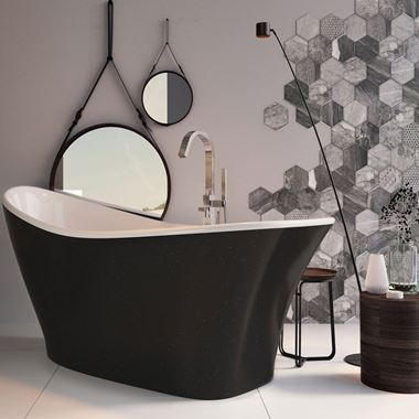 Xana Freestanding Black Acrylic Bath - 1750 X 750mm